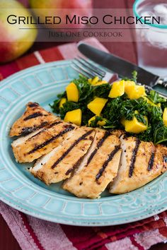 Grilled Miso Chicken & Massaged Kale Salad with Mango | Easy Japanese Recipes at JustOneCookbook.com