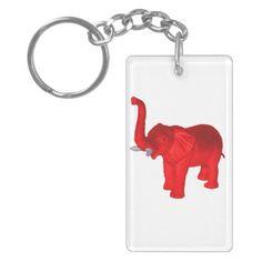 Red Elephant Rectangle Acrylic Keychains