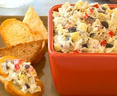 The perfect party appetizer to make ahead of time! Our creamy artichoke and black olive dip is made in 10 minutes and can be refrigerated for up to 24 hours.