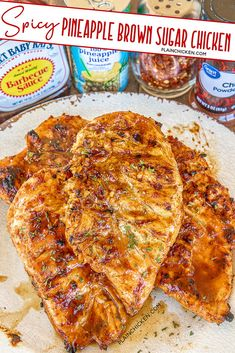 Pineapple juice, brown sugar, BBQ sauce, chili powder, and red pepper flakes. Spicy Recipes, Grilling Recipes, Chicken Recipes, Cooking Recipes, Grilling Tips, Chicken Dips, Smoker Recipes, Chicken Meals, Rib Recipes