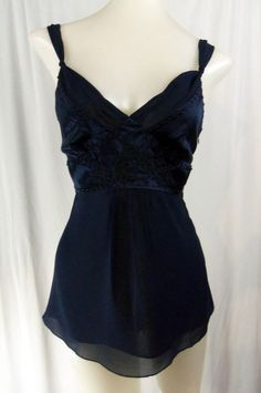 BEBE Extra Small 100% SILK Navy Blue Embroidered Beaded Spaghetti Strap Shirt #bebe #Blouse #Casual