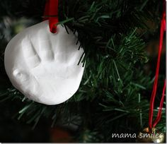 Baby handprint tree ornament