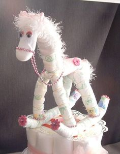 HORSE Pink Diaper Cake TOPPER Girl Baby Shower Decorations