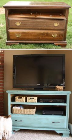 $10 Garage Sale Dresser Turned TV stand.