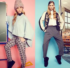 Paul & Joe Sister 2014-2015 Fall Autumn Winter Womens Lookbook Collection - Denim Jeans Knit Cap Beanie Romper Combishorts Onesie Overalls Outerwear Coat Jacket Sneakers Shirt Blouse Wide Leg Culottes Gauchos Shorts Knit Sweater Jumper Multi-Panel Toggle Nautical Hoodie Paid Oversized Dovetail Bomber Varsity Jacket Trousers Pants Stripes Swan Bomberdress Jacketdress Circle Poodle Skirt Pleats Sheer Chiffon Baseball Cap Motorcycle Biker Rider - Paris France Fashion Style