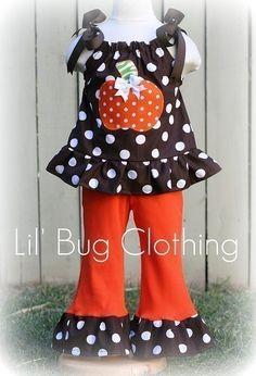 Custom Boutique Clothing Halloween Cocoa Lime Zebra Pumpkin Pant Set.