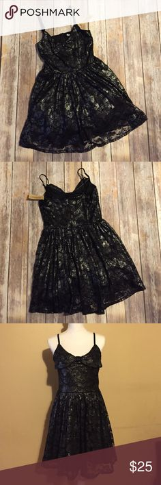 NWT - American Rag Black Lace Dress NWT - American Rag black lace dress with metallic shimmer. A great a-line dress. Perfect for going out and wedding season! American Rag Dresses Midi