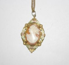 Shell Cameo Necklace on 18 Inch Chain           by SCLadyDiJewelry