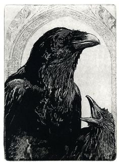 Sale-- MOTHERHOOD-Black Madonna and Child - Raven (bird, Christ, Virgin Mary, crow) Series. etching 5 inch x 7 inch 2011 on Etsy, $25.00