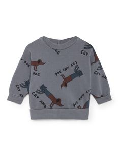 Cats And Dogs all over print round neck baby sweatshirt by Bobo Choses. From The Happy Sads collection by Bobo Choses. We love this cool baby sweatshirt by Bobo Choses. Barcelona, Dog List, Fun World, Just Kidding, Cool Baby Stuff, Dusty Blue, Kids Wear, Organic Cotton, T Shirt