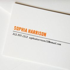 Letterpress Pearl White Calling Card with Dotted Rule: Design with sophisticated sensibilities, personalization in our Clementine hue accompanied by well-placed pertinent information in charcoal makes for business cards that would surely make Eames ecstatic.