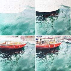 My usual steps in watercolors with the sea: 1) To paint water with soft waves on wet paper; 2) Reflections in a single layer on dry paper; 3) Large parts…