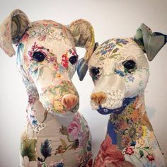 """Sewing Stuffed Animals """"D is for Dog"""" - creations of Bryony Rose Jennings from her Pretty Scruffy collection. Bryony re-purposes vintage textiles, lace and embroideries to create her whimsical stuffed animals."""