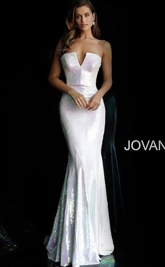 Jovani 65069 sequin fitted long prom dress with strapless fitted bodice and plunging v-neckline, invisible back zipper closure and floor length fitted skirt with ly fla end. WE CAN ORDER ANY JOVANI, Terani Couture, MNM Couture, Sherri Hill. Jovani Wedding Dresses, White Pageant Dresses, Fitted Prom Dresses, Strapless Prom Dresses, Jovani Dresses, Pageant Gowns, Mermaid Prom Dresses, Wedding Gowns, Evening Dresses