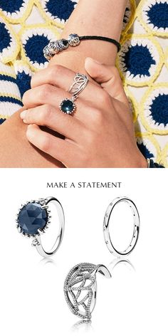 There's no such thing as too many rings. Mix favorite styles together for a glittering mash-up that makes a personal statement. Start with one large statement ring and add other rings in complementary colors. #PANDORA #PANDORAring #PANDORAmagazine