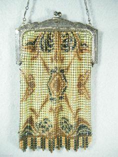 VINTAGE WHITING DAVIS ART DECO ENAMEL MESH BAG  PURSE FLAPPER 1920-1938