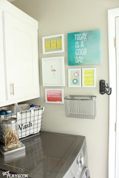 Laundry room budget?  No problem!  I just love all the little touches in this Laundry Room Reveal | DIY Playbook