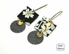 Paper Quilling Jewelry, Origami Jewelry, Paper Earrings, Paper Jewelry, Textile Jewelry, Fabric Jewelry, Earrings Handmade, Handmade Jewelry, Polka Dot Earrings