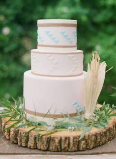 Elegant Aztec Style Boho Wedding Cake