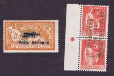 France 1927/1940 - Airmail n°1 and war stamp n°3 (Yvert and Tellier) - signed Calves