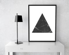 Black Triangle, marble print, geometric printable, triangle decor, Printable Wall Art, birthday gift, Art Prints, Minimalist Print #wallart #posters #inspirational