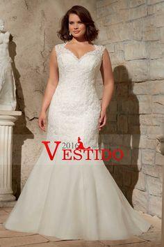 2016 vestidos de boda de las correas de la sirena de organza con apliques más el tamaño