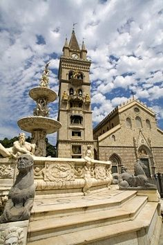 Orione Fountain, Clock Tower and Duomo, Messina, Sicily   - Explore the World with Travel Nerd Nici, one Country at a Time. http://TravelNerdNici.com