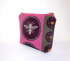 Medium  Zipper Pouch  Dragonfly in Pink and by handjstarcreations, $11.00