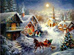 Beautiful Christmas Village Wallpaper Scenery