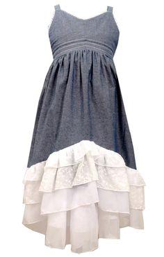 80a9a8e321 Big Girls Plus Blue Chambray Tiered Maxi Dress, Blue, 18.5, Bonnie Jean,
