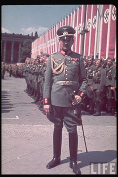 Brigadier General von Schoberth, with troops of the Condor Legion, at the Lustgarten, Berlin 1939. Note the general's parade uniform still in imperial German fashion. The Condor was Nazi Germany's contribution to the nationalist side in the Spanish Civil War. With this opportunity, Hitler tested some of his new weapons and tactics in a real battle environment.