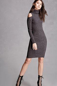 Cowl Neck Open-Shoulder Dress