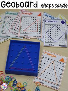 Shape Activities For Preschool Pre K And Kindergarten Shape Geoboard Cards Plus More Shapes Activities For Preschool Pre K And Kindergarten Shape Mats Legos Geoboards Etc Play Dough Mats Posters Sorting Mats Worksheets Amp 2d Shapes Activities, Geometry Activities, Pre K Activities, Learning Shapes, 2d Shapes Kindergarten, Math Classroom, Preschool Activities, Preschool Kindergarten, Preschool Shapes