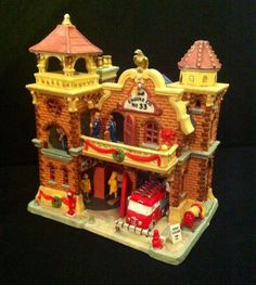 "RARE Lemax Engine Co #33 Fire House Station Village Christmas ""Lighted Animated"""