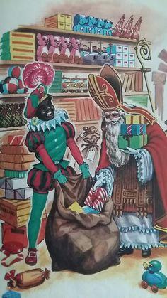Sint en Piet vullen  de zakken