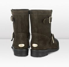 Jimmy Choo - Youth - 132youthmdst - Military Suede Biker Boots with a Waxed Toe - Youth is the younger sister of the renowned Jimmy Choo biker boot - its slightly shorter and looks love worn and rugged in suede with a waxed toe.