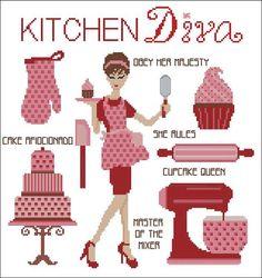 Kitchen Diva Cross Stitch PDF Chart by PinoyStitch on Etsy