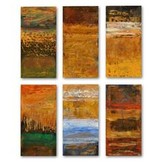 Abstract on Copper Rectangles Outdoor Wall Art