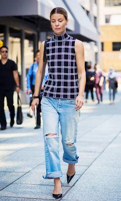 Grid print shirt, distressed cuffed denim + pointed toe pumps