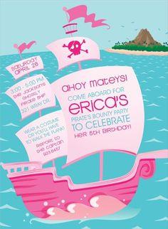 Pirate Ship Pink Invitation