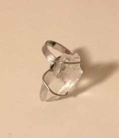 Adjustable Genuine Raw Rock Crystal Quartz ring Silver plated Wire wrapped onto Silver plated ring on Etsy, $14.00