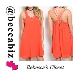 Sexy crochet strap shift dress in Coral Available: 2 large.   You may purchase this listing.     Price is firm unless bundled.   10% off bundles of 2 or more.  No Trades.   (Photos used with permission of designer) Boutique Dresses
