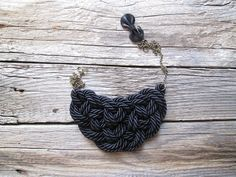 Black Rope necklace Black statement necklace by NasuKka on Etsy, $34.00