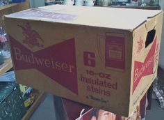 Budweiser Beer Thermo Serv Beer 5 16oz Insulated Steins In Case Box Vtg 70's