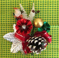 Vintage Christmas Corsage Santa, Pinecone, Mercury Ornament, Flowers Brooch Pin, Gold, Silver, Red, Green, Mid Century 1950s Original Box
