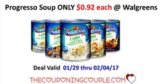 Another great deal to start preparing for!! Cheap Progresso Soup $0.92 each @ Walgreens starting on 1/29.  Click the link below to get all of the details ► http://www.thecouponingcouple.com/cheap-progresso-soup/ #Coupons #Couponing #CouponCommunity  Visit us at http://www.thecouponingcouple.com for more great posts!