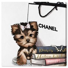 fashion art Oliver Gal Fashion Book Yorkie Glam Custom Graphic Art Print Format: Wrapped Canvas, Size: H x W x D Oliver Gal, Chanel Wallpapers, Cute Wallpapers, Canvas Wall Art, Wall Art Prints, Canvas Prints, Canvas Frame, Fine Art Prints, Wallpaper Fofos