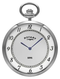 "Rotary, Ultra Slim Collection, fully automatic stainless steel pocket watch with white dial. The Rotary ""Ultra Slim"" collection emphasizes Rotary's dedication to its reputation as a superior supplier of premium quality and elegant timepieces. Ultra Slim case is 4.85 mm thin."