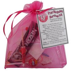 21st Birthday Gift - Unique Survival Kit (Hot Pink) - 21st birthday gift, 21st birthday present, 21st gift, 21st present, 21st birthday