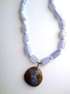 Beautiful blue lace agate necklace. $85.00, via Etsy.
